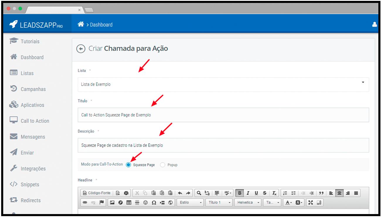 configuracoes squeeze page leadszapp pro