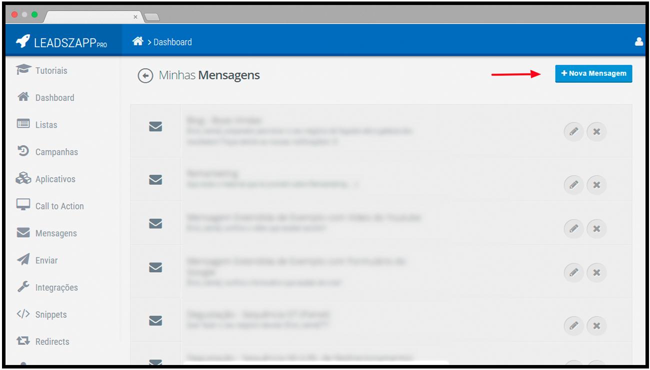 criar mensagem leadszapp pro