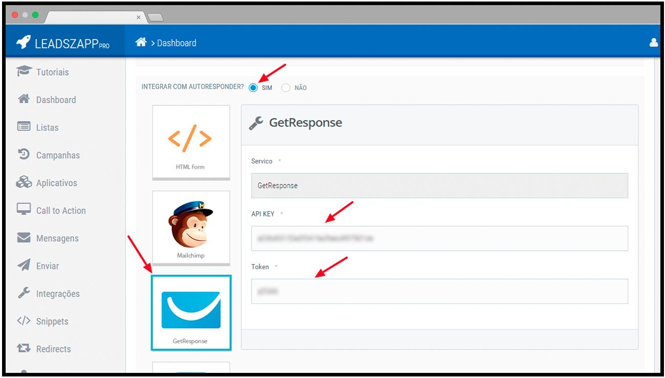 dados integracao getresponse leadszapp pro