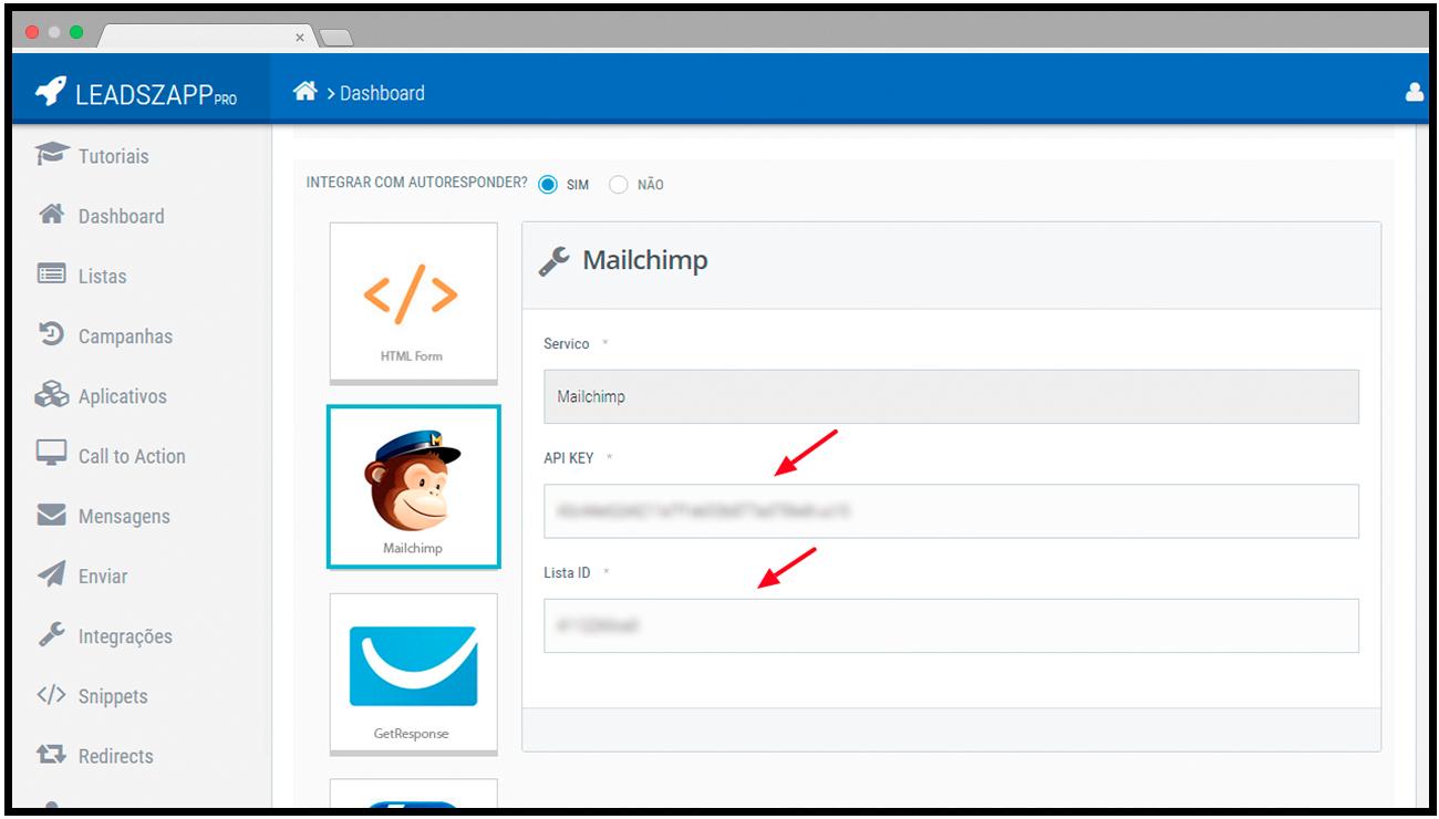 integracao mailchimp leadszapp pro