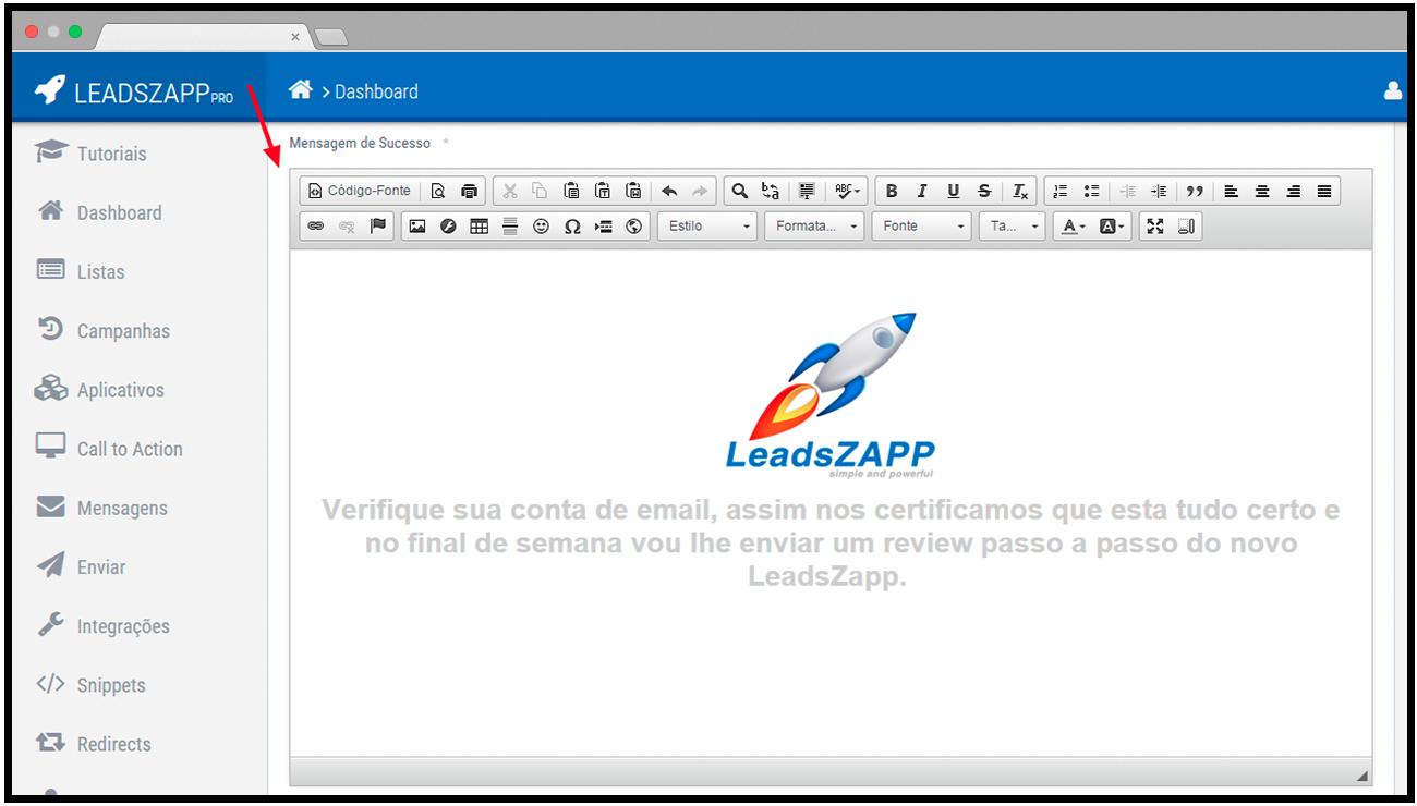 mensagem de sucesso cta leadszapp pro