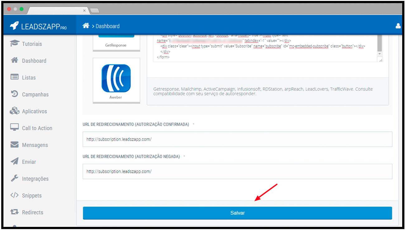 salvar integracao form html leadszapp pro